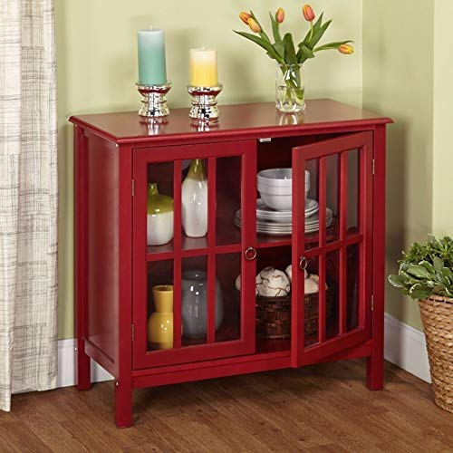 Moon Daughter Red MDF Glass 2 Door Buffet Sideboard China Storage Cabinet Server Curio Adjustable Shelf Display