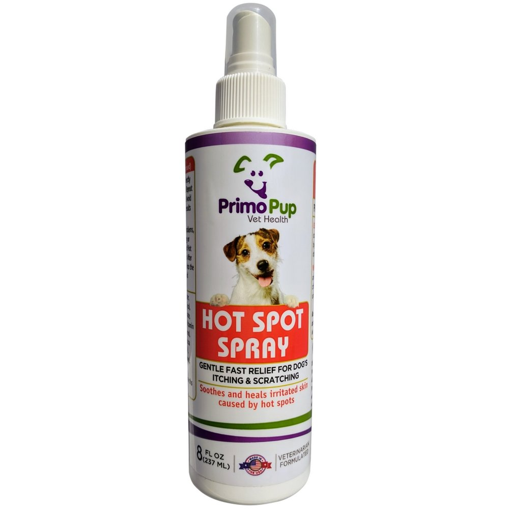 Primo Pup Vet Health - Hot Spot Spray for Dogs - with Tea Tree Oil for Fast Relief of Itching and Scratching - 8 Fluid Ounces