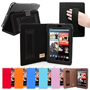 Nexus 7 (2012) Case, Snugg - Black Leather Smart Case Cover [Lifetime Guarantee] Google Nexus 7 (2012) Protective Flip Stand Cover with Auto Wake / Sleep