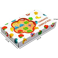 Grizzly 28Pcs Wooden Multicolor Animal Cartoons Domino Set for Kids Toddlers - Ages 3+ Years