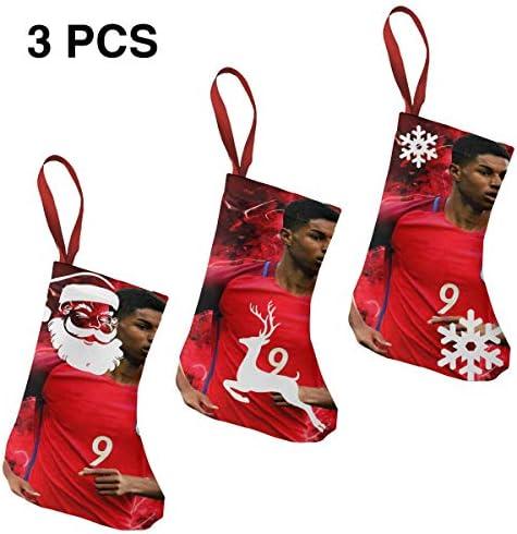 クリスマスの日の靴下 (ソックス3個)クリスマスデコレーションソックス フットボールMarcus Rashford クリスマス、ハロウィン 家庭用、ショッピングモール用、お祝いの雰囲気を加える 人気を高める、販売、プロモーション、年次式