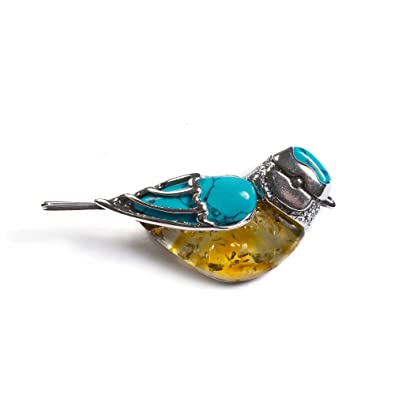Classic Baltic Yellow Amber, Turquoise and Silver Blue Tit Bird Pendant on a 16.5