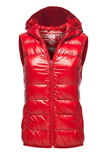 Warm Ultra Light Packable Down Parka Hoodie Vest Jackets, 034 - Red, US L
