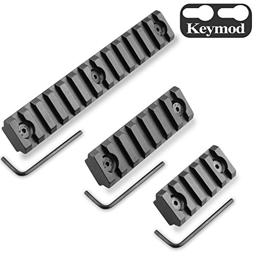 Monoki Keymod Picatinny Rail Sections, 5-Slot 7-Slot 13-Slot Lightweight Picatinny Rail Section for Keymod Handguard Mount Rail System with 3 Allen Wrench & Solid-Style, 3 Pack (5/7/13-Slot) ()