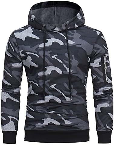 Mens Winter Casual Hoodie Oversized Sweatshirt Pullover Long Sleeve Camouflage Hooded Tops Jacket Coat Outwear