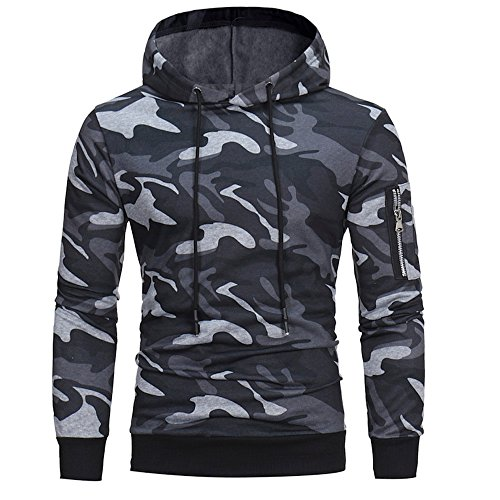 (Sunhusing Men's Camouflage Print Turtleneck Hooded Sweater Sweatshirt Zip Pocket Long Sleeve)