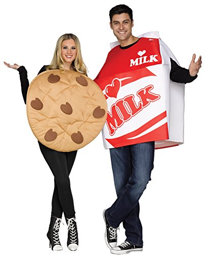 UHC Comical Milk & Cookie Outfit Funny Theme Party Fancy Dress Couple Costume, (Couple Halloween Outfit)
