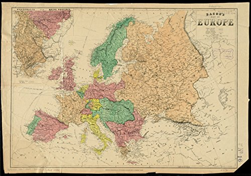 (Vintage Map | 1860-1869 Bacon's map of Europe | Historic Wall Decor Poster Art Reproduction | 44in x 31in)