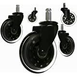 """8T8 Replacement Office Chair Caster Wheels 3"""" - Rollerblade Style Heavy Duty Soft PU Rubber Safe for Hardwood Carpet Tile Floors 5 Set (Black Transparent)"""