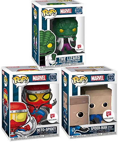 Paper Bag Spider-Man (Bombastic Bag-Man) Exclusive Pop! Marvel Bundled with Octo-Spidey Limited + The Lizard in Lab Coat Vinyl Character Figure 3 Items (The Amazing Spider Man 3 Doc Ock)