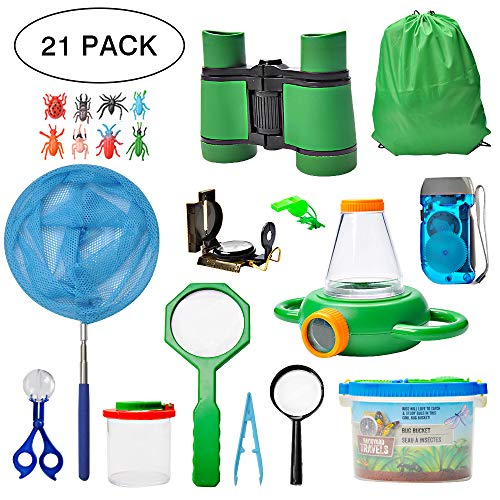 Outdoor Exploration Kit 21pcs Nature Explorer Kids Adventurer Kit for Children- Binoculars, Compass, Magnifying Glass, Insect Viewer, Butterfly Net, Bug Toys, Outside Educational Toys Hiking Camping
