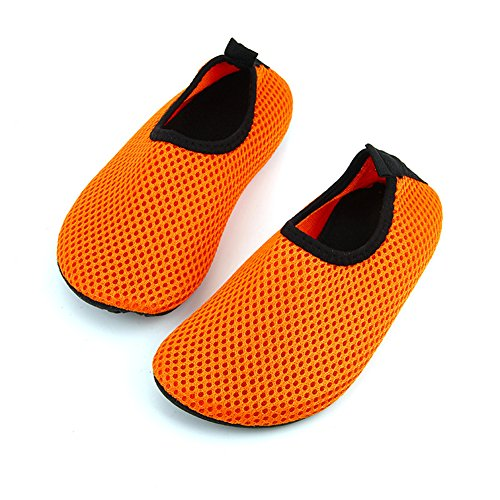 Ecseo Unisex Föräldrar Och Barn Vatten Skor Aqua Strumpor För Stranden Simning Yoga Sports-fitness Andas Lägenheter Barn-orange
