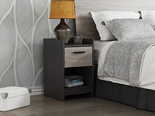 Homestar EB208753JS Central Park 1 Drawer Nightstand, Java Brown/Sonoma by Home Star