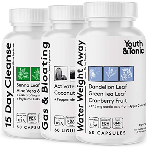 3pk Water Weight & Waste Loss & Belly Bloat to Reduce Fast Waist Line & Gas Bloating   Body Cleanser Combo for Weight…