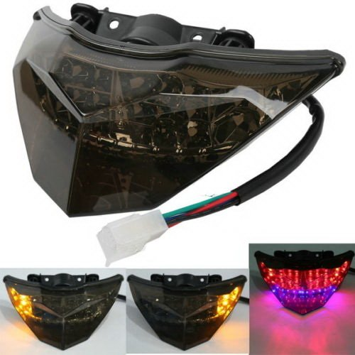 B B Bullet Exhaust (Smoke ABS LED Brake Tail Light Turn Signal For KAWASAKI NINJA 250R 300)