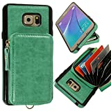 xhorizon FLK RFID Blocking Leather Wallet Case Protective Leather Zipper Case with Flip Credit Card Holder for Samsung Galaxy Note 5 with 9H Tempered Glass Film and Bonus 2 in 1 Stylus