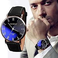 Pandaie Watch Promotion! Luxury Fashion Faux Leather Mens Quartz Analog Watch Watches Black