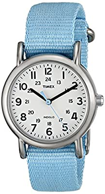 Timex Women's T2P0759J Weekender Pastel Blue Slip Thru Nylon Strap Watch