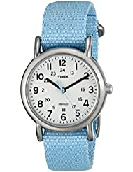 Timex Womens T2P0759J Weekender Pastel Blue Slip Thru Nylon Strap Watch
