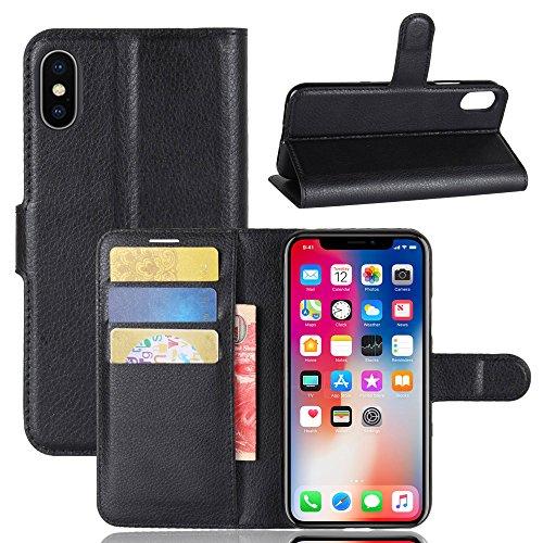 iPhone X Funda, TOTOOSE Litchi Grain PU Carcasa Flip Stand función ranuras de tarjetas de cubierta con cierre magnético Para iPhone X -Rosado Negro