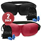 2 PACK - Luxuriously soft 3D SLEEP MASK, pleasant touch, PERFECT MAKE UP without defects and PAIR of HIGH FIDELITY EARPLUGS – give you a blissful SILENCE everywhere - MyTravelUp (Black & Red)