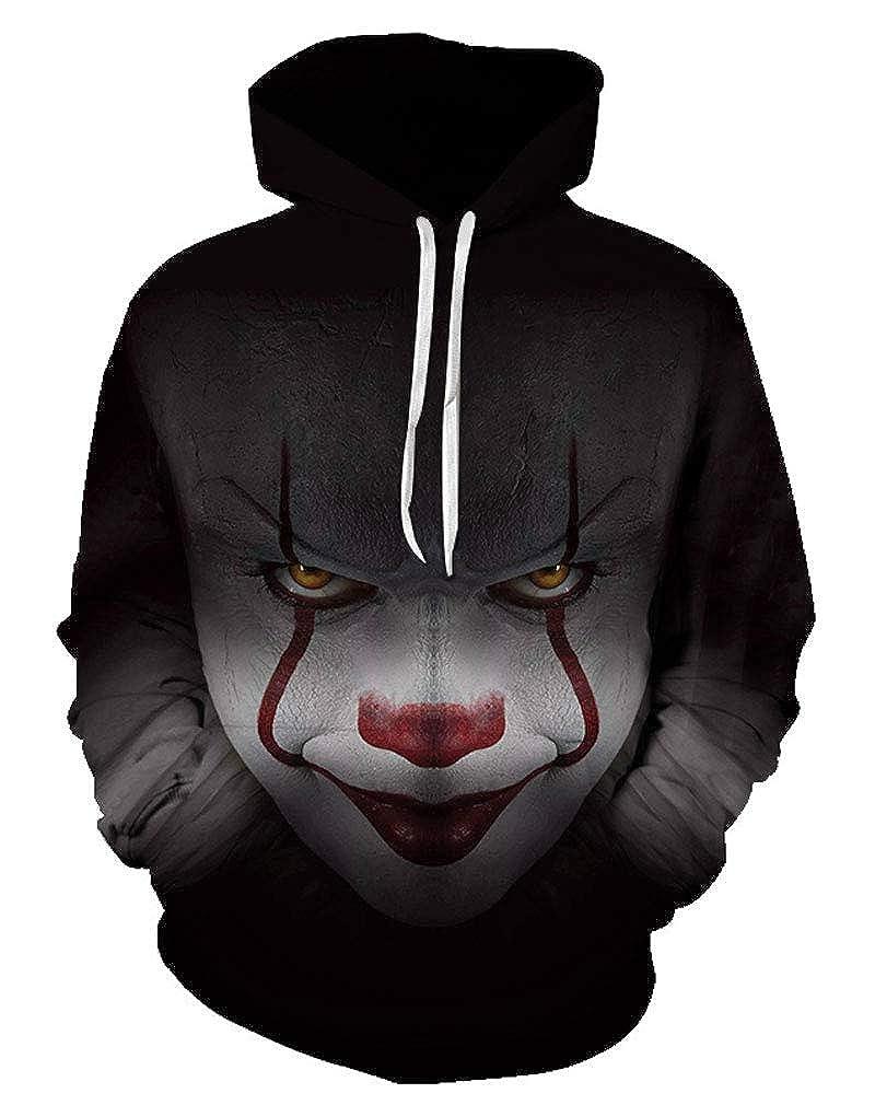 Doxi Unisex Clown Print 3D Hoodies Joker Cartoon Sweatshirts Casual Pullover
