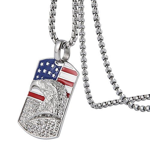 HZMAN Men's 18k Gold Plated Stainless Steel 3D Eagle American Flag Dog Tag CZ Pendant Necklace (Dog Tag - Silver)