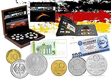IMPACTO COLECCIONABLES Monedas de Alemania - 19 Monedas y 2 Billetes, Colección 25 Aniversario de la Caída del Muro de Berlín: Amazon.es: Juguetes y juegos