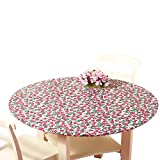 Fitted Elastic No-Slip Fit Table Cover with Soft Flannel Backing, Strawberries, Round