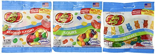 Jelly Belly Sugar Free 3 Packs of Jelly Beans and Gummi Bear