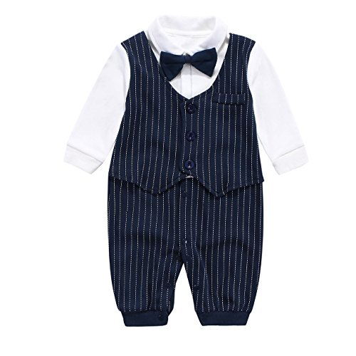 New Boy Formal Tuxedo Suit - Mornyray Baby Boy Formal Jumpsuit Gentleman Wedding Outfit Tuxedo Suit with Bowtie