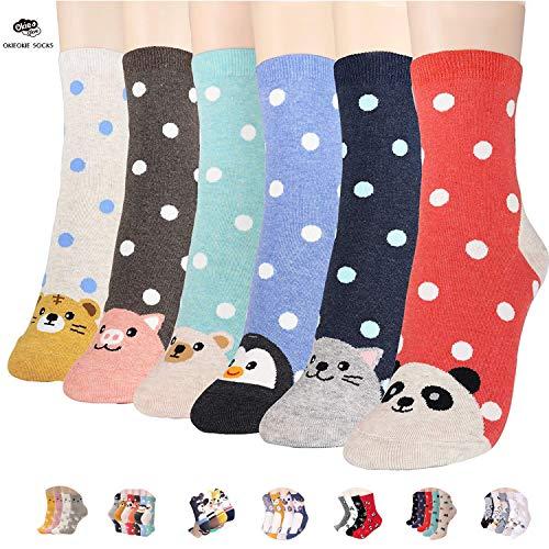 OKIE OKIE Womens Best Socks Gift Set-Cute Animals Art Cartoon Character Funny Novelty Crew (Animal - Double Animal -
