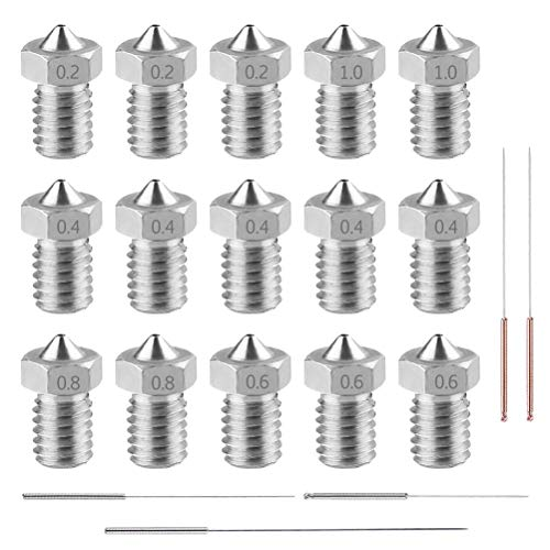 3D Printer Stainless Steel Nozzles, 20pcs M6 Printer Nozzles Heads Extruder 0.2 0.4 0.6 0.8 1.0mm 5pcs Cleaning Needles Kit for 1.75mm E3D Makerbot ANET A8 Creality CR-10 (Kit Nozzle Steel)