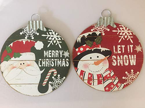 Christmas Hanging Decoration Wall or Door Ornament Large Wood and Metal Let it Snow Snowman Large