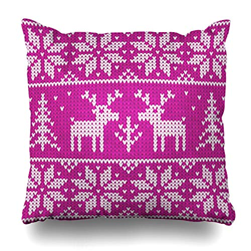 Ahawoso Throw Pillow Covers Retro Sweater Rose Christmas Ornamental Deers Vintage Graphic Pattern Abstract Close Closeup Home Decorative Cushion Case Square 16