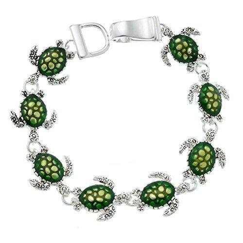 PammyJ Green Sea Turtle Bracelet Silvertone Magnetic Clasp Bracelet
