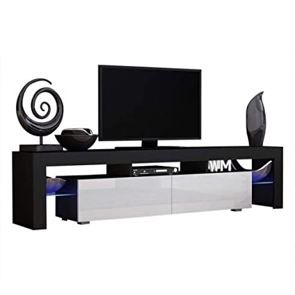 Concept Muebles TV Stand Milano 200 Black Body/Modern LED TV Cabinet/Living  Room