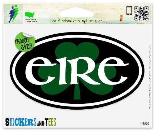 (Eire Ireland Shamrock Irish Euro Oval Vinyl Car Bumper Window Sticker 3