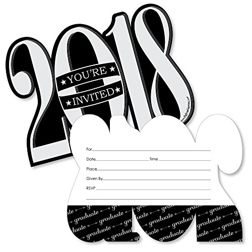 Graduation Cheers - 2018 Shaped Fill-In Invitations - Graduation Party Invitation Cards with Envelopes - Set of 12