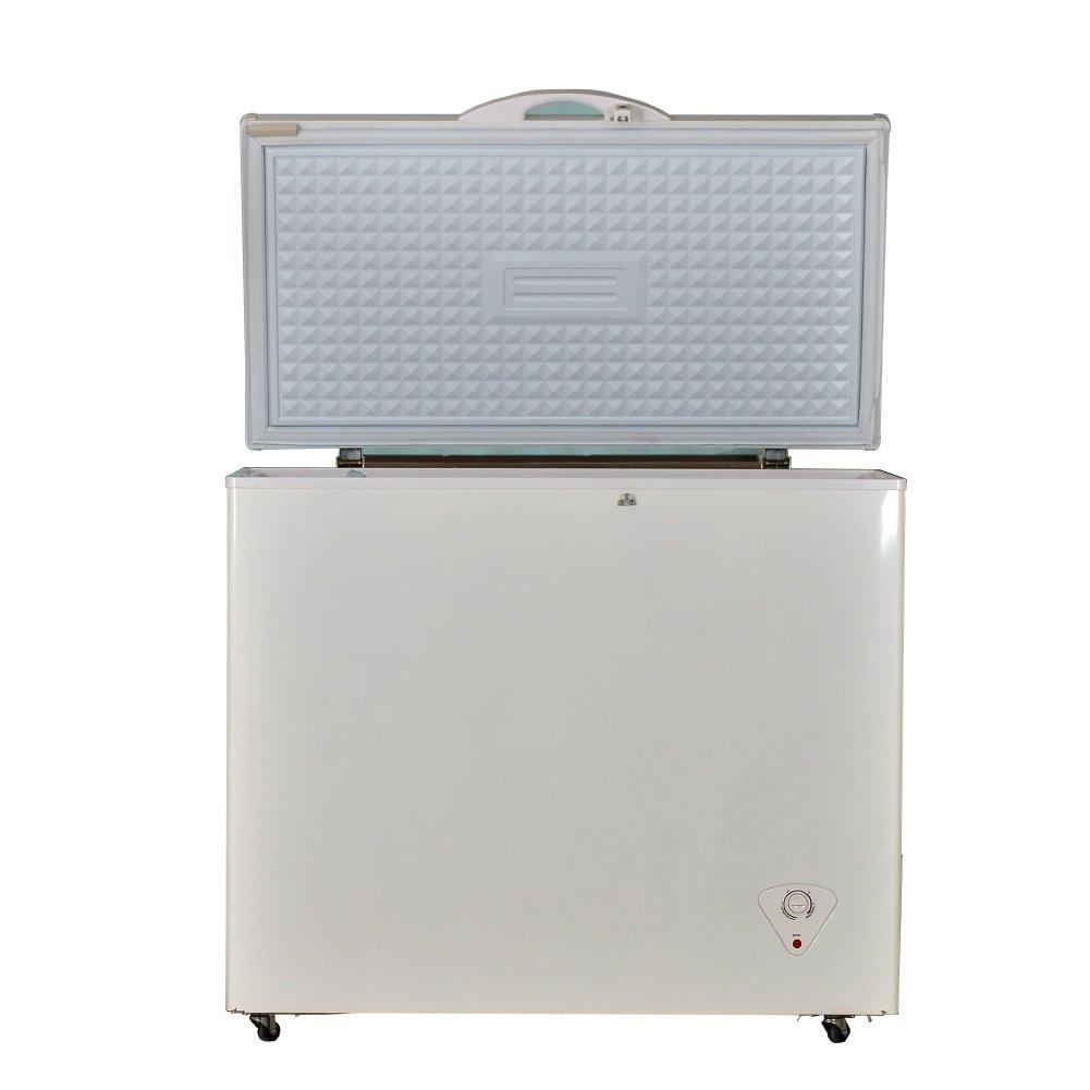Smad 12V Chest Freezer Outdoor Solar-powered Freezer Single Door,White,8.3 Cu.ft.