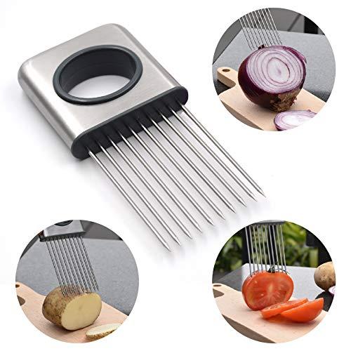 Onion Holder Slicer Vegetable Tools - Vegetable Potato Slice Gadget - Vegetable Tomato Lemon Meat Slice Gadget - Kitchen Tool Aid Gadget (Stainless Steel)