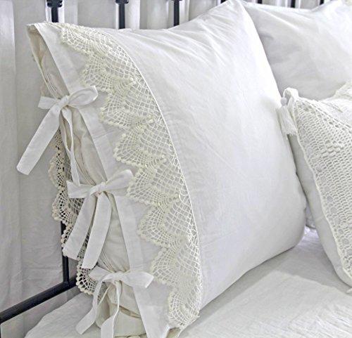 Queen's House Vintage Crochet White Shams Standard Pillowcases Pillow Covers-J (Pillowcase Crochet)