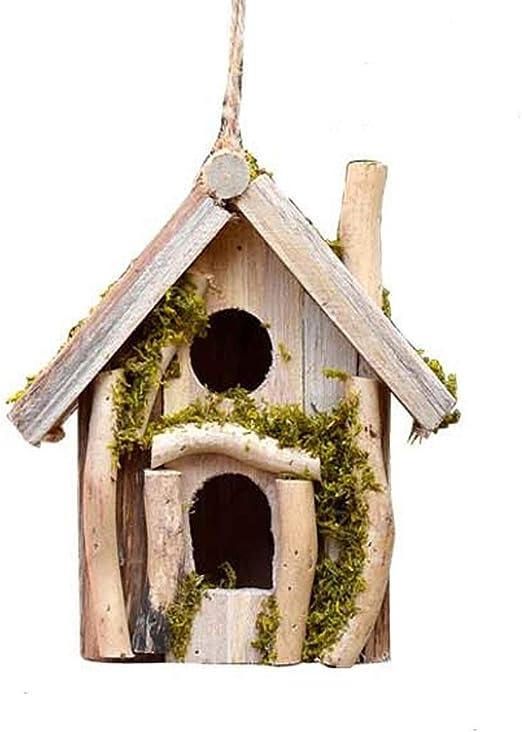Ouqian Casas para Pájaros Bird Nidal Decoraciones del jardín pájaro Hotel Cabin for Las Aves Silvestres Colgante de Madera Country Cottages casa del pájaro (Color : Natural, Size : 17.5x11x19.5cm): Amazon.es: Productos