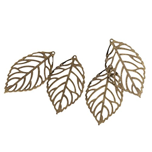 Antique Bronze Leaf - MagiDeal 100 Pieces Filigree Leaves Metal Slice DIY Components Jewelry Findings Craft Pick your Color - Antique Bronze