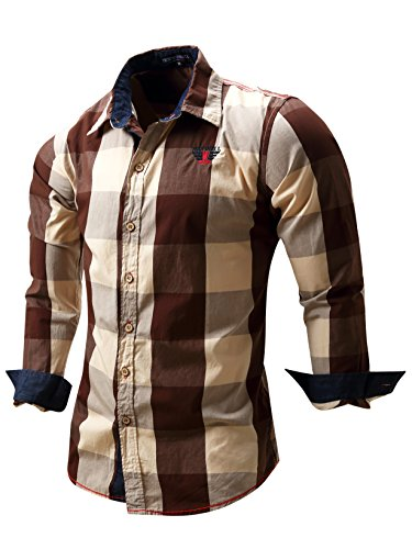 Neleus Men's Long Sleeve Button Down Plaid Shirts,112,Coffee,USA L+,EUR Tag 2XL - Brown Mens Shirt