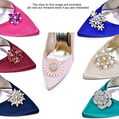 ElegantPark HC1603 Women's Pointed Toe High Heel V Cut Slip on Satin Dress Pumps Black US 7 by ElegantPark (Image #6)