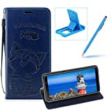 Strap Leather Case for Galaxy A9 2018,Dark Blue Wallet Flip Case for Galaxy A9 2018,Herzzer Elegant Classic Solid Color Magnetic Cute Fish Cat Printed Stand PU Leather Case with Soft TPU