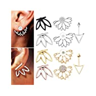 10 pairs ear jacket stud lotus flower earrings for women and girls set for sansitive ears simple...