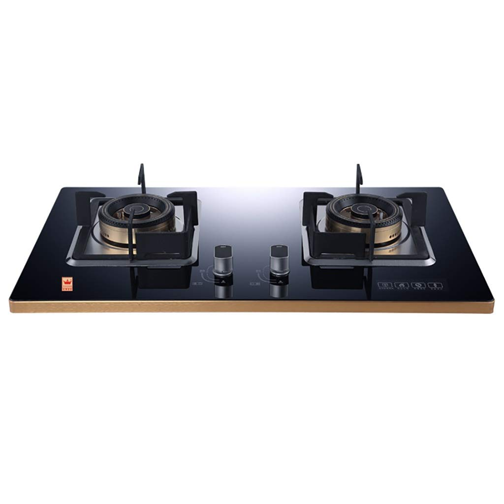 LQ-Stoves Gas Cooktops, Kitchen Energy-Saving Tempered Glass 2 Burner cooktop, Built-in, cooktop Dual-use Natural Gas Cooktops Size: 750430mm by LQ-Stoves