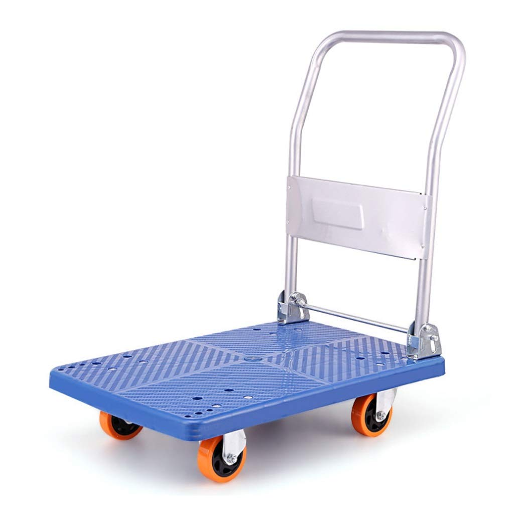 Xilinshop Portable Utility Carts Thickening Trolley Folding Mute Flat Shopping Cart Home Pulling Cargo Truck ( Color : A )